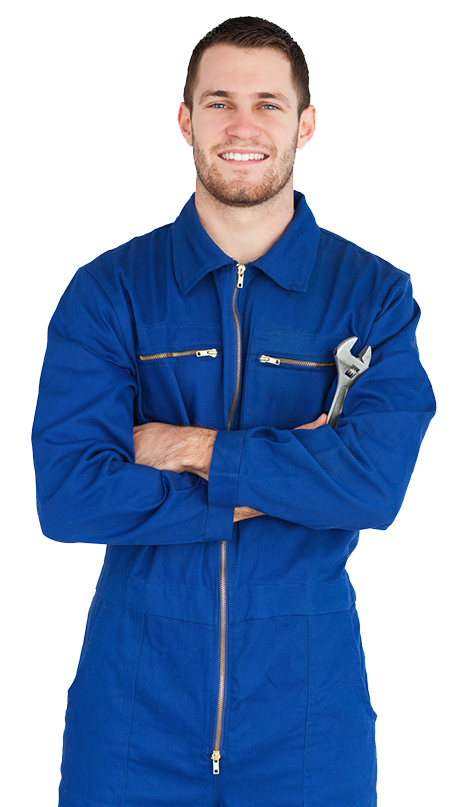 Plumber smiling with wrench in blue zip up coveralls